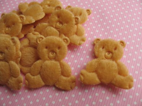 10 x 30mm BROWN/TAN TEDDY BEAR PADDED APPLIQUE HEADBAND BOWS CARD MAKING